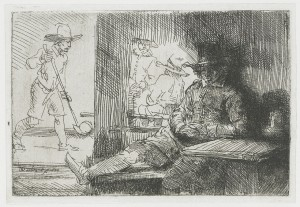 Rembrandt etching of a golfer.  It resembles a pen and ink setch.