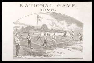 Very rare 1875 engraved trade card with 'Harwood & Sons' base ball makers advertising on back