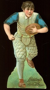 1890s Spalding Die Cut of a football player.  This is both a die cut and a trade card, with advertising on front and back