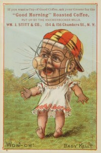 1889 Tobin Lithograph 'Baby Talk' trade card featuring a baby King Kelly.