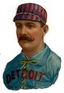 1888 'Scrapps Tobacco' Die Cuts, Baseball Dan Brouthers (HOF) Detroit. Baseball collectors used to erroneously think these were tobacco cards, thus the name.