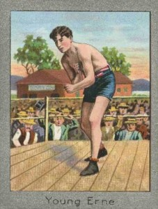 1910 T220 Mecca Tobacco 'silver borders' boxing card.  You can tell the gilding isn't real silver, because real silver tarnishes.