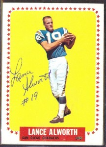 Lance Alworth autographed 1964 Topps