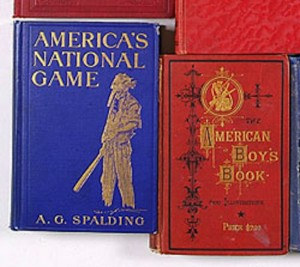 Antique baseball books with gilded letters