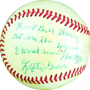 Lefty Grove signed first pitch baseball 1972 World Series