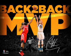 Signed Steph Curry photo back-to-back mvp