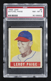 1948 Leaf Satchel Paige rookie card graded Near Mint-Mint