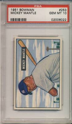 1951 Bowman Mickey Mantle rookie card graded PSA 10