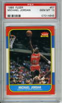 1986-87 Fleer Michael Jordan rookie card graded PSA 10