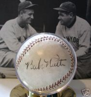 Baseball signed by Babe Ruth, Walter Johnson and Clark Griffith