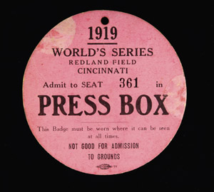 1919 World Series press pass