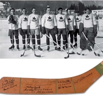 1924 signed Olympic hockey stick