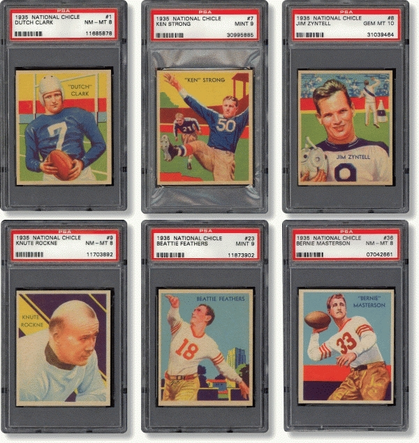 Football cards 1935 National Chicle set