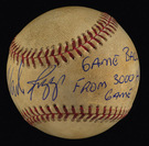 Baseball from Wade Boggs 3000th hit game