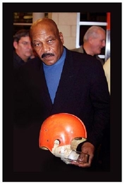 Jim Brown with helmet