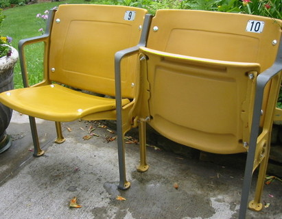 Dodger Stadium gold seat pair with floor mount