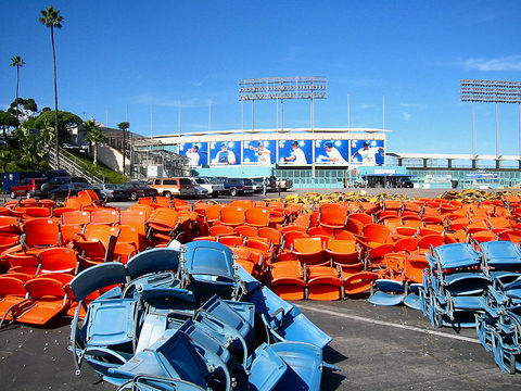 Dodger Stadium seats after removal in 2005