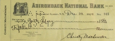 Christy Mathewson signed check