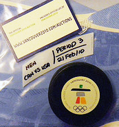 Game used puck USA vs Canada