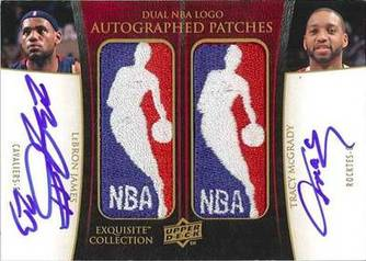 Upper Deck Exquisite Dual Patch card:  LeBron James and Tracy McGrady