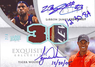 Exquisite LeBron James and Tiger Woods dual auto