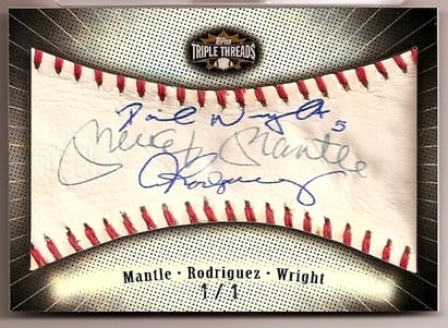 2007 Topps Triple Threads Hide Mickey Mantle, Alex Rodriguez, David Wright card