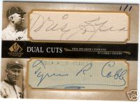 A 2006 Upper Deck Legendary Cuts autographed card of Ty Cobb and Tris Speaker