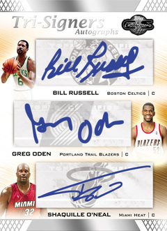 Topps Co-Signers Shaquille O'Neal, Greg Oden and Bill Russell ographed Card