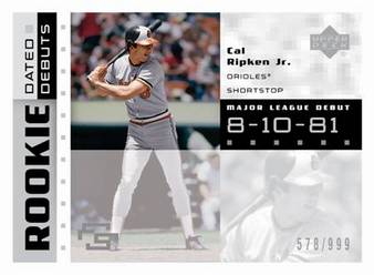 Rookie Dated Debut Card of Cal Ripken Jr