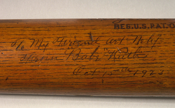 Babe Ruth bat personalized to Art Nehf