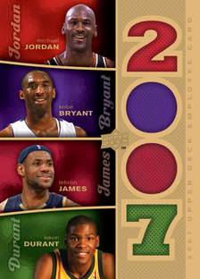 Upper Deck Employee Card featuring game used swatches of Michael Jordan, Le Bron James, Kobe Bryant and Kevin Durant