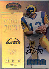 1999 Kurt Warner Playoff Contenders rookie card