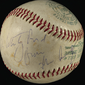 John F Kennedy autographed baseball personalized to Whitey Ford