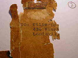 Shipping label remnant from Lou Gehrig bat sent from Yankees to Hillerich and Bradsby