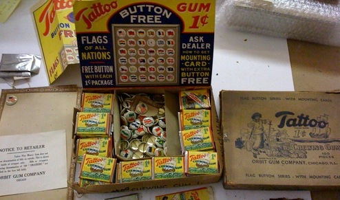 Unopened box of Tattoo Orbit gum and premium pins