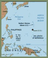 Map of South Pacific & Guam