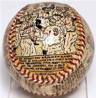 First pitch baseball painted for JFK