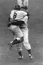 Final out of Larsen's perfect game:  Yogi Berra and Don Larsen