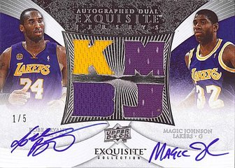 Exquisite Kobe Bryant/Magic Johnson dual autographed jersey card