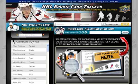 Upper Deck Hockey Website