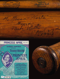 Babe Ruth autographed bat to Tessa Kosta
