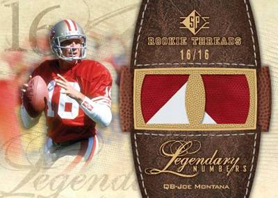 Upper Deck SP Rookie Threads Joe Montana Legends card