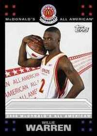 Willie Warren card from the Topps McDonalds All American set