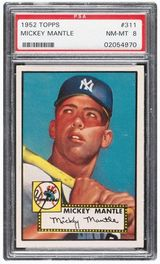 1952 Topps Mickey Mantle PSA 8 sold for 2,800