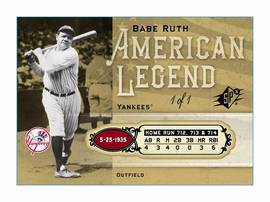 Modern Babe Ruth baseball card issued by Upper Deck