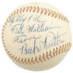 Ball signed by Babe Ruth to Ted Williams