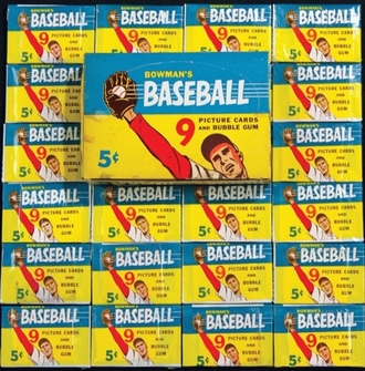1955 Bowman wax packs and box