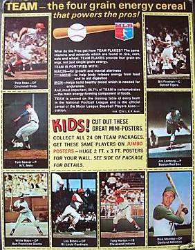 1969 Nabisco Team Flakes Cereal back panel
