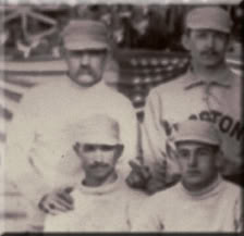 Hoss Radbourn giving the finger in team photo