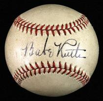 Babe Ruth autographed baseball sold by Huggins & Scott